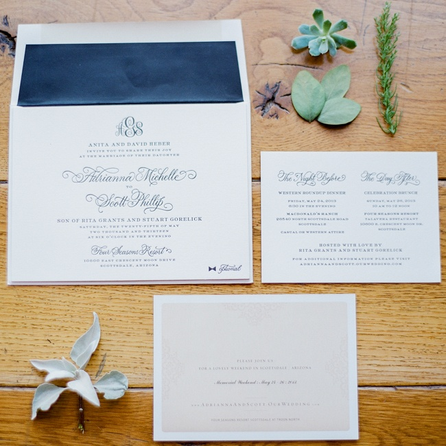 The couple chose a simple-yet-formal navy and white invitation suite.