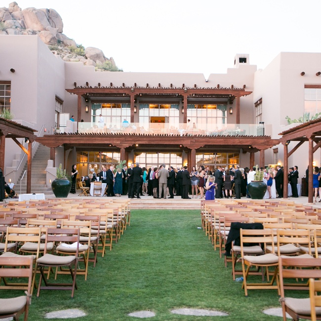 Guests enjoyed cocktail hour immediately after the ceremony at the Four Seasons in Scottsdale, AZ.