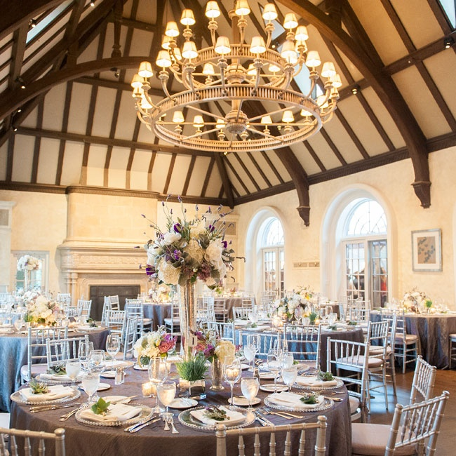 The reception took place inside at the Mountain Ridge Country Club. The high beamed ceilings gave the room an open feel and the decor was simple and elegant.