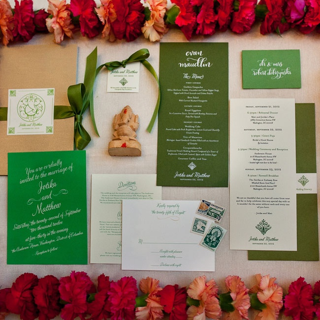 Jotika and Matt ordered green invitations from Minted.com to match the green menus that they had on their wedding day.