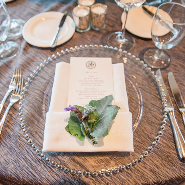 The menus were created by William Arthur and were accompanied by a bundle of rosemary and thyme. The herbs gave off a fresh scent as guests sat down at their table.