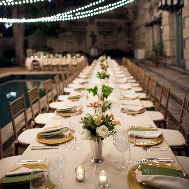 The reception was held outdoors in The Anderson House mansion with long tables set alongside the pool, adding that touch of a dinner party feeling that Jotika and Matt were going for.