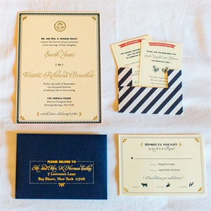 Navy and Gold French-Inspired Invitations