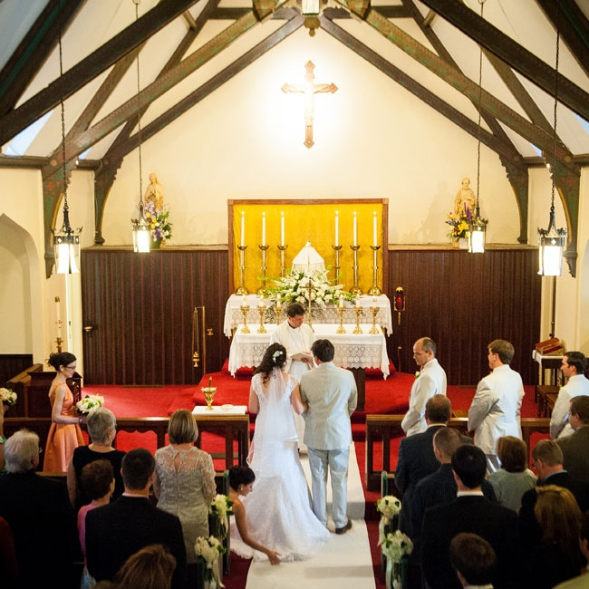 The couple was married in a traditional Catholic ceremony in a small chapel on the grounds of St. John's Catholic Church in Leesburg.