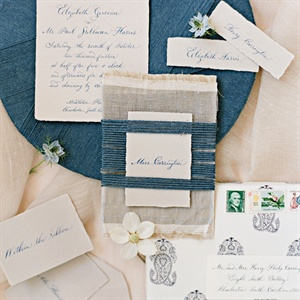 Calligraphed Invitations with Scrim and Yarn Details