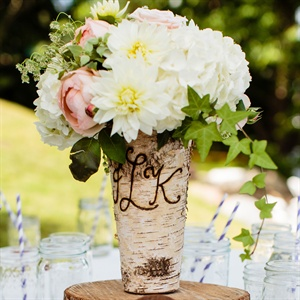 Rustic Birch Cocktail Hour Centerpieces