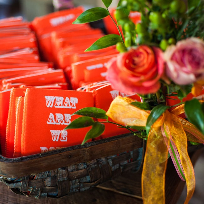Custom Koozies were a fun, yet functional, part of the wedding favors.