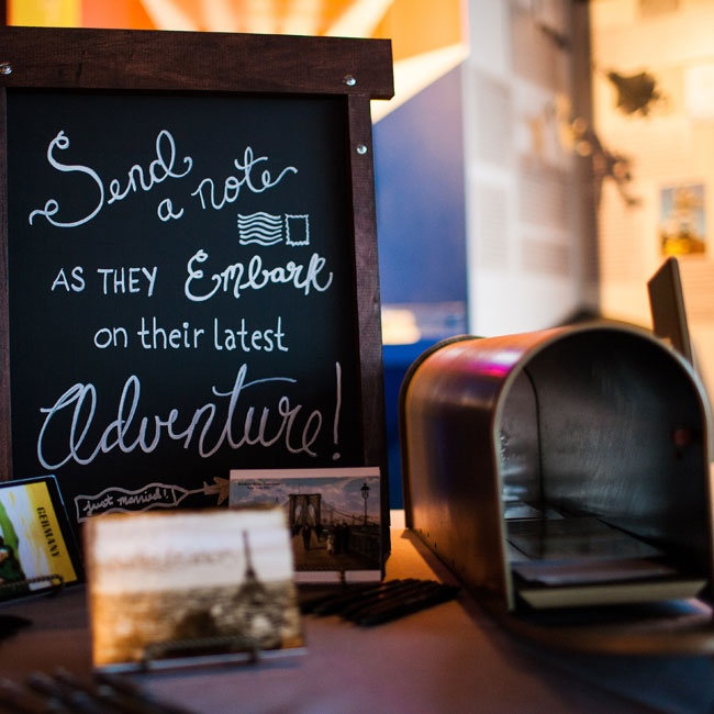 Chalkboards were used throughout the decor, including on the guest book table where everyone was invited to share a note with the newlyweds.