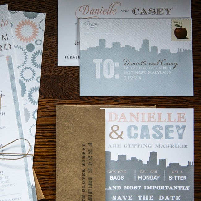 """MLC Designs and Madeline were AMAZING,"" says Danielle. ""Madeline took my scattered thoughts and created the perfect suite--save-the-dates, invites, table names and numbers."""