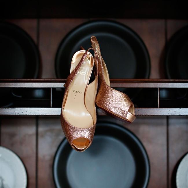 Stephanie wore these copper metallic Christian Louboutin peep-toe slingbacks down the aisle.