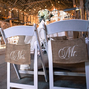 Rustic Burlap Mr. and Mrs. Chair Signs