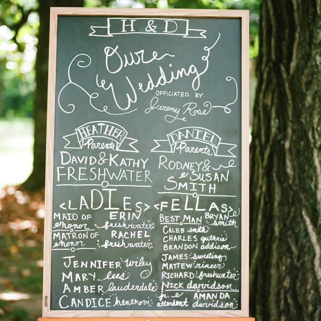 The bride and groom had their program displayed on a chalkboard at the ceremony.