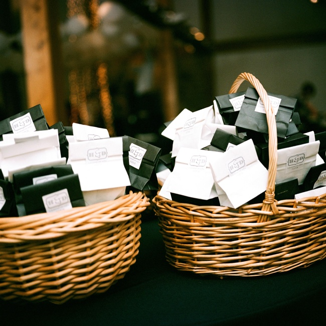 Guests were given favors in individualized black and white bags.