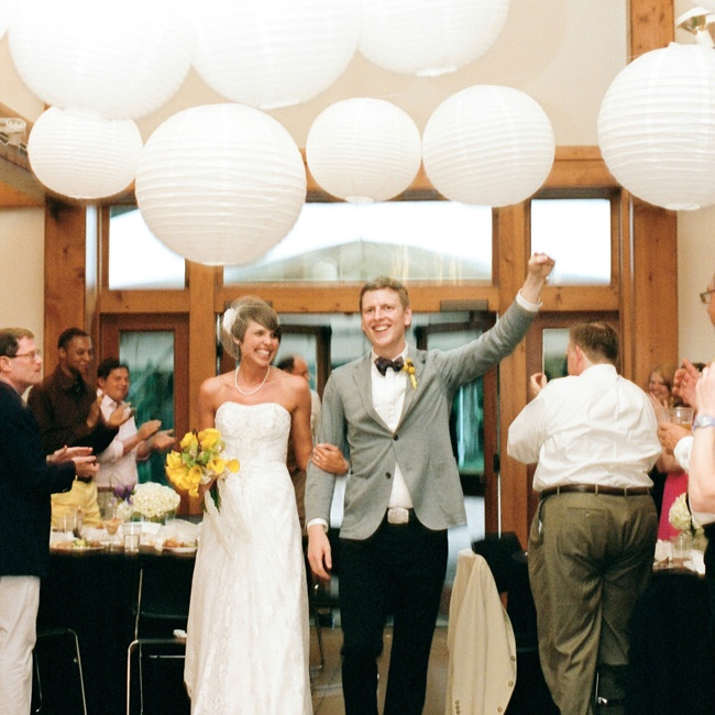 The couple's reception space was decorated with white paper lanterns.