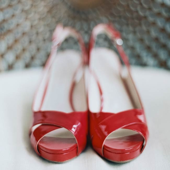 One bride wore these vivid red sandals down the aisle at the ceremony.