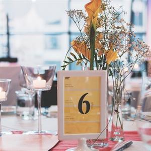 Yellow Table Name Decor