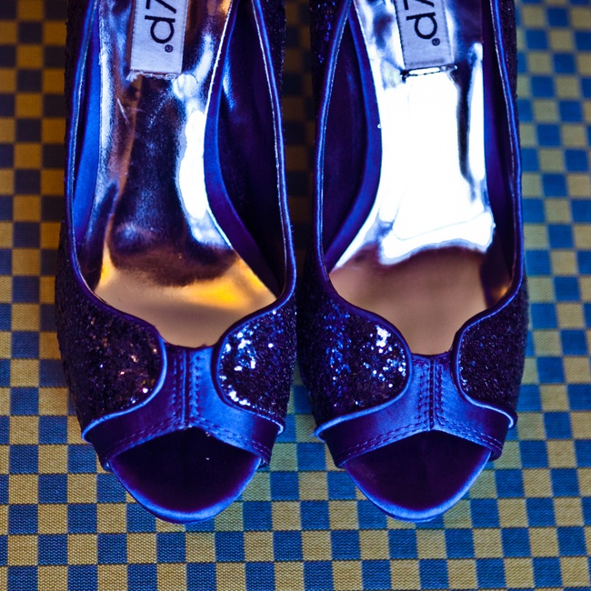 Ashley walked down the aisle in these glitzy dark blue, peep-toe pumps.