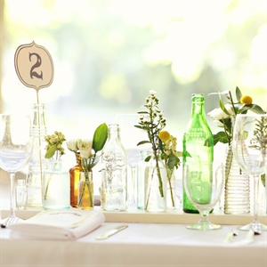 Vintage Bottles and Garden Flower Centerpieces