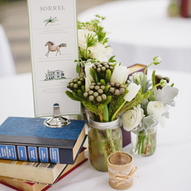 Reception tables were decorated with antique book stacks, and antique jars filled with green plant arrangemnts, including berzelia.
