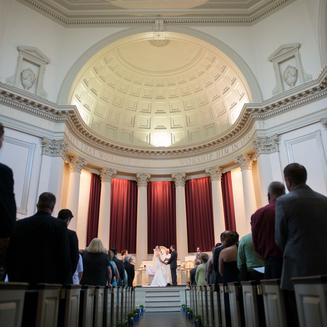 The Hendricks Chapel at Syracuse University provided an impressive backdrop for the couple's ceremony and easily accommodated their 150 guests.