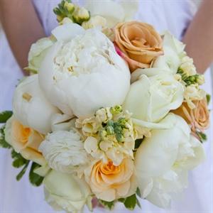Orange and White Peony Bouquet