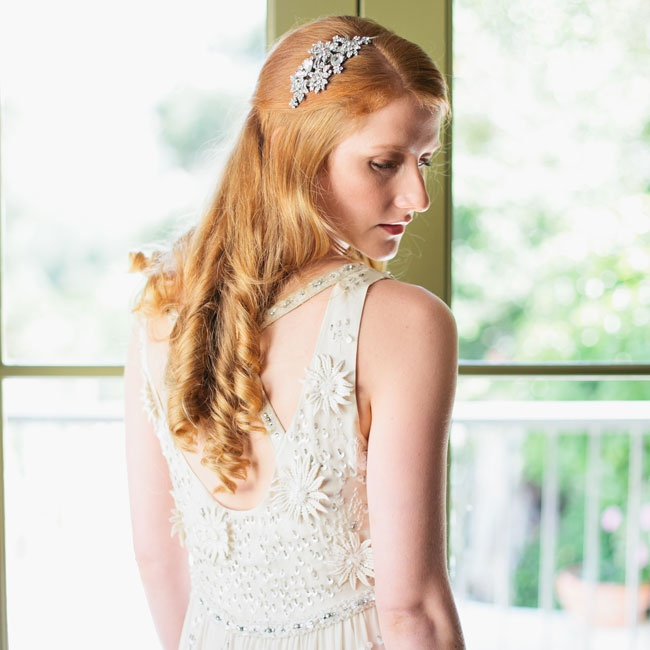 Bex's loose curls and jeweled head piece went well with her bohemian-style BHLDN gown.