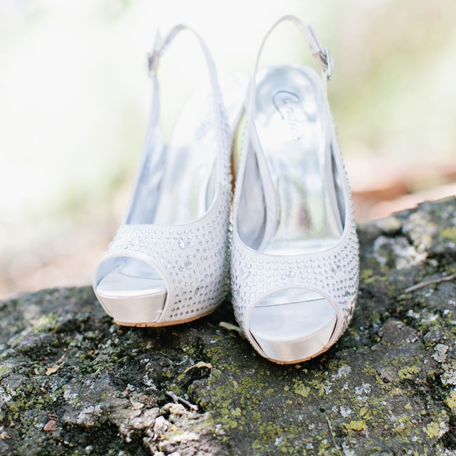 The bride wore these jeweled peep-toe heels by Candies down the aisle at her ceremony.