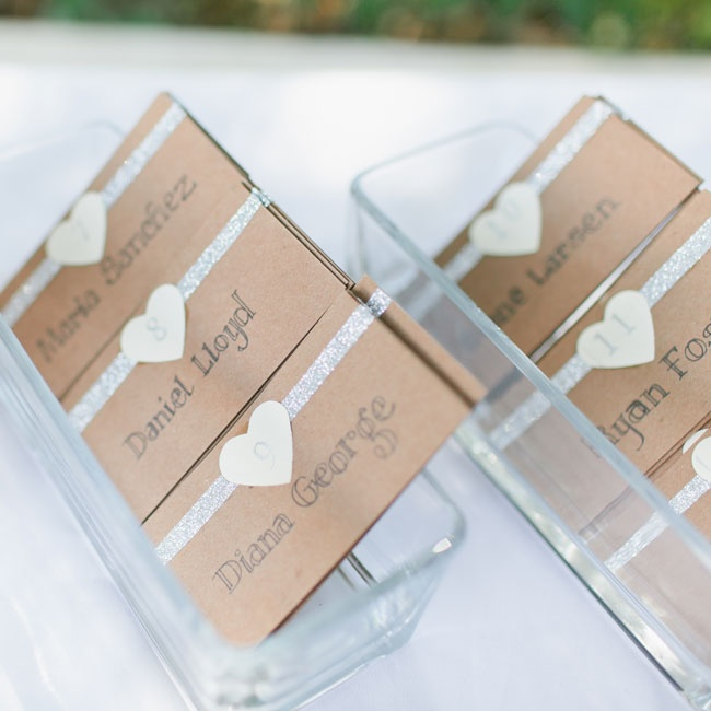 The bride made these neutral, handmade escort cards with a hint of sparkle.