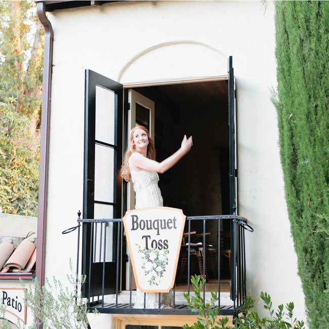 Bex threw her bouquet from this classic Californian balcony to her single wedding guests below.