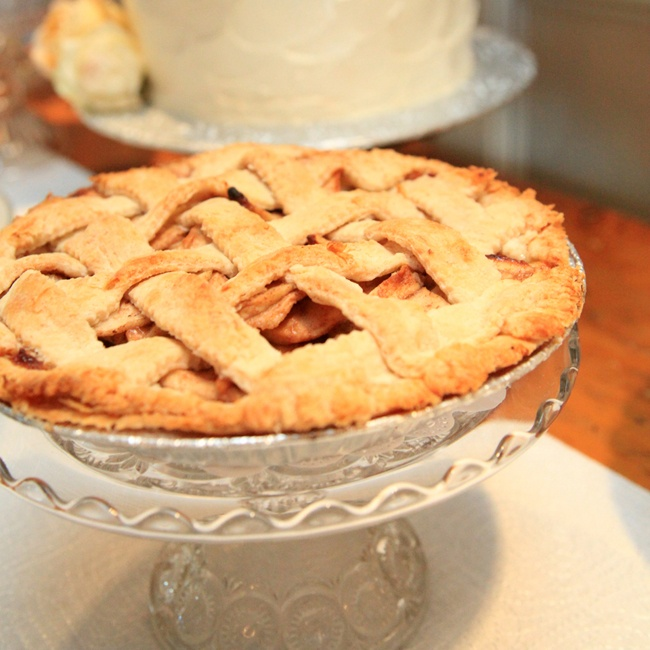 In addition to cake, family and friends of the bride and groom brought an array of homemade pies and cookies to share.