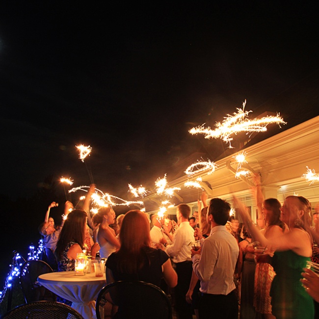 Guests got festive with sparklers at the end of the night before sending off the newlyweds.