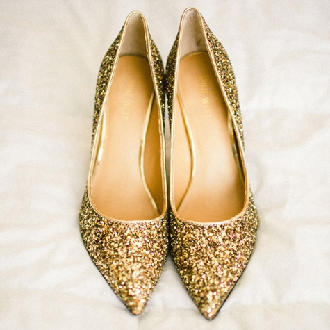 Glittery Gold Bridal Shoes