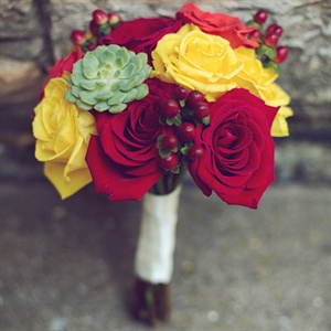 Red and Yellow Bridesmaid Bouquet