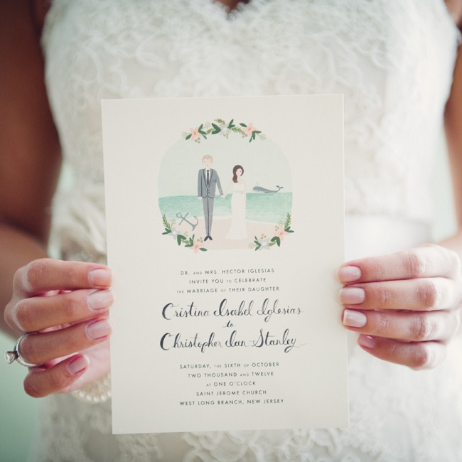 The couple sent Rifle Paper Co. a photo of themselves and described their planned attire for the day, colors and theme. The result was an adorable custom invitation suite with a personalized illustration in the couple's likenesses.