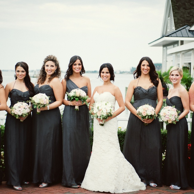 Christina picked the color, and then allowed her bridesmaids to choose the dress designer. Once everyone had settled on a designer (Amsale), the ladies chose whatever dress style they thought they'd feel most comfortable wearing.