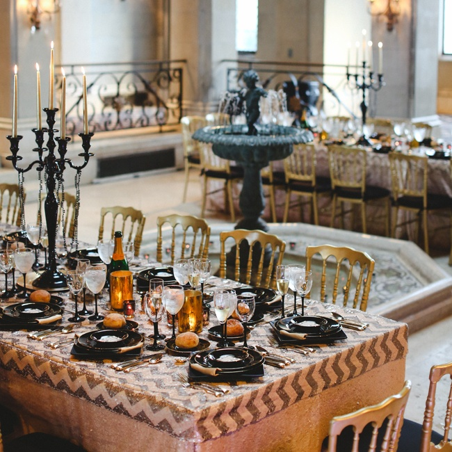 The reception took place at the Hempstead House in Sands Point. Dinner was an elegant black-tie affair with simple decorations ranging from numerous candles to black pearls.
