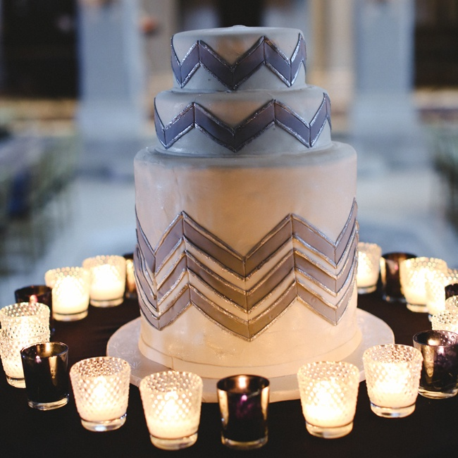 The wedding cake was by Nine Cakes in Brooklyn, NY and it was a simple three-tiered chevron round cake.