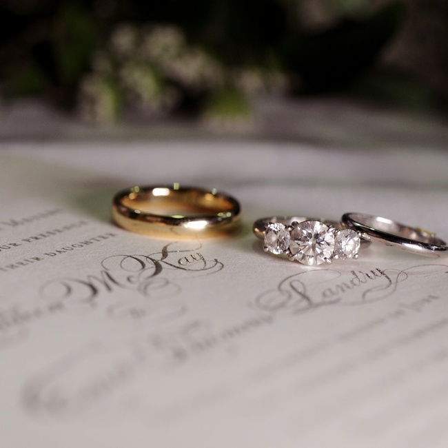 Kathleen and Thomas chose traditional yellow and white gold wedding bands.