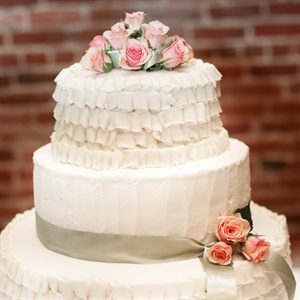 Three-Tiered Ruffle Wedding Cake