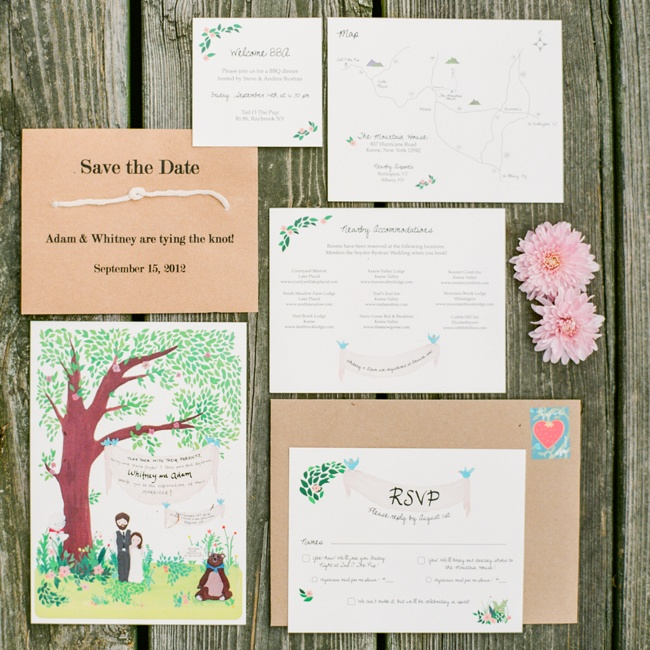 The couple called upon Whitney's sister Caitlin, a graphic designer, to create their custom invitation
