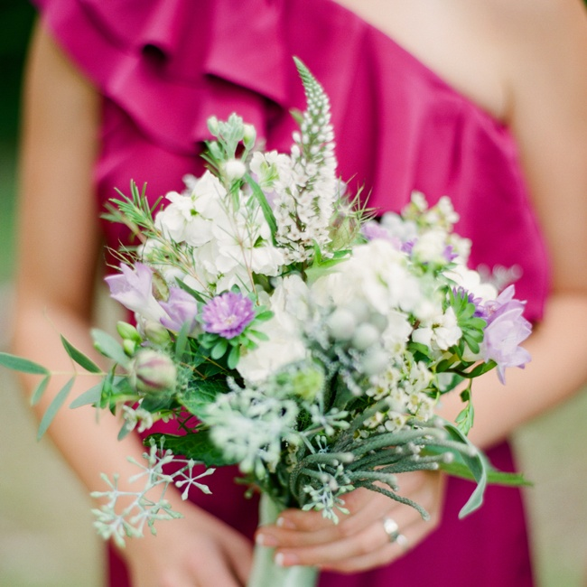 The bridesmaid bouquets had various wildflowers and also included eucalyptus: the bride's favorite.