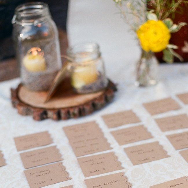 Whitney's sister Caitlin created her whimsical kraft paper escort cards.
