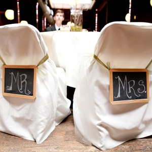 Chalkboard Bride and Groom Chair Signs