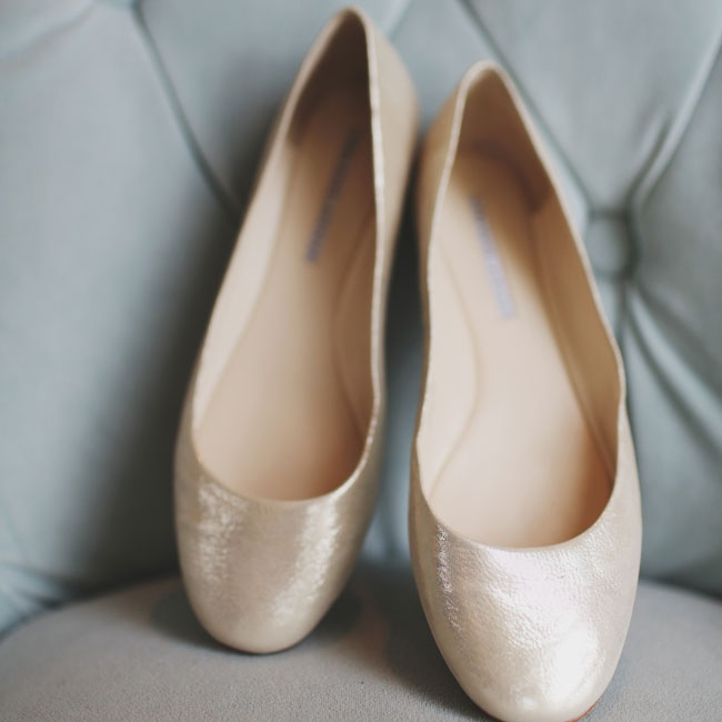 The bride wore these comfortable nude bridal flats down the aisle on her wedding day.