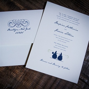 Navy Calligraphy Invitations