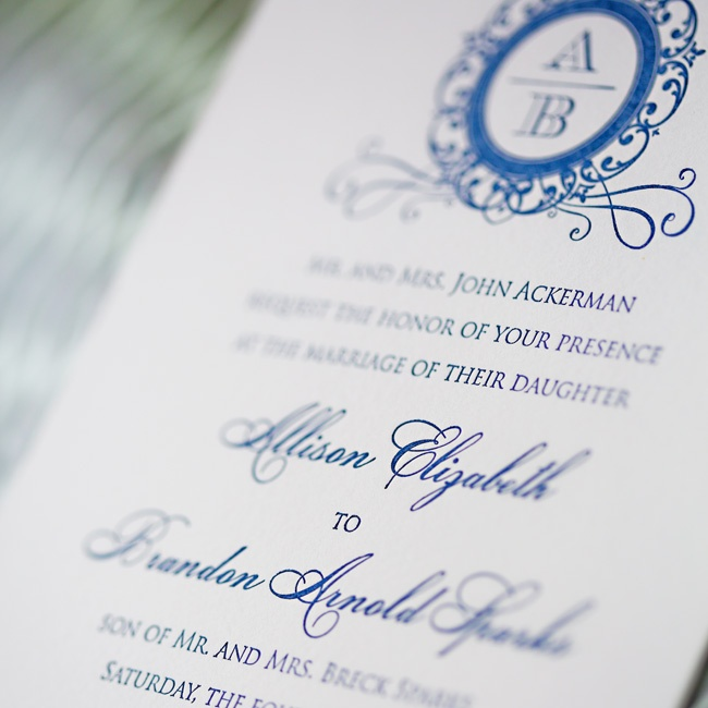Allison and Brandon's invitations had a regal feel with royal blue font and an elaborate monogram.