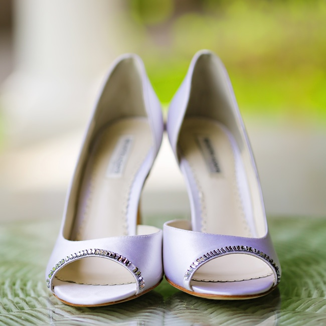 Allison's bridal shoes had shimmery beaded accents along the edge of the toe for a hint of glam.