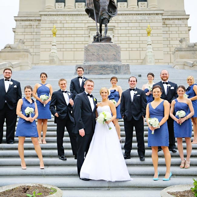 Brandon and his groomsmen wore formal black tuxedos with matching bow ties and white pocket squares.
