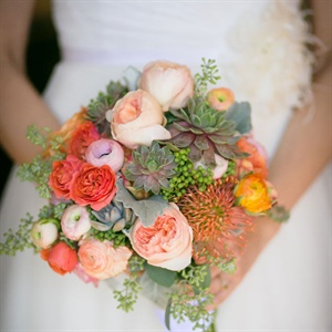 Pink and Coral Bridal Bouquet