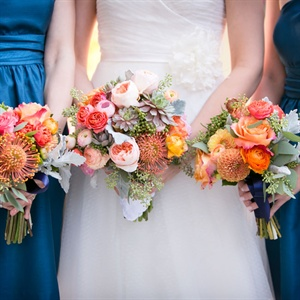 Bright Bridesmaid Bouquets
